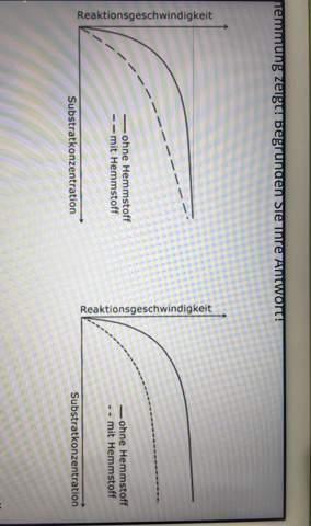 Welches der Graphen ist ein kompetitive Enzymhemmung und eine nicht -kompetitiveEnzymhemmung und warum?