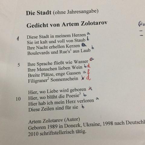 Gedichte klasse 6 gymnasium metrum