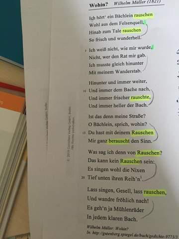 Welches Metrum hat das Gedicht ,,Wohin?'' von Wilhelm Müller?