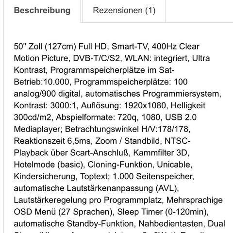 Beschreibung des TV - (TV, Fernseher, Umtausch)