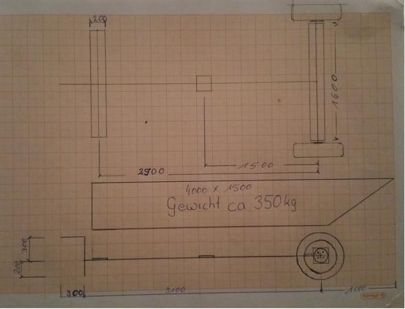 Hafentrailer Skizze - (Metallbau, Hafentrailer selber bauen, Vierkant Stahl rohr)