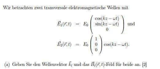 Wellenvektor für elektromagnetische Wellen angeben?