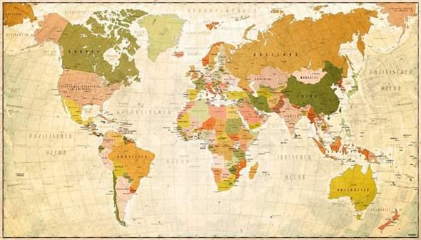 Weltkarte Von 1914 Vintage Deutsches Kaiserreich