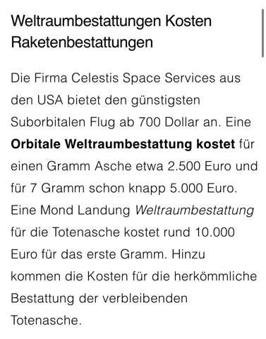 Weltraumbestattung Preis?