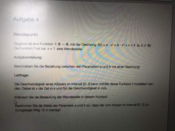 Wendepunkt, polynomfuntion a b ermitteln?