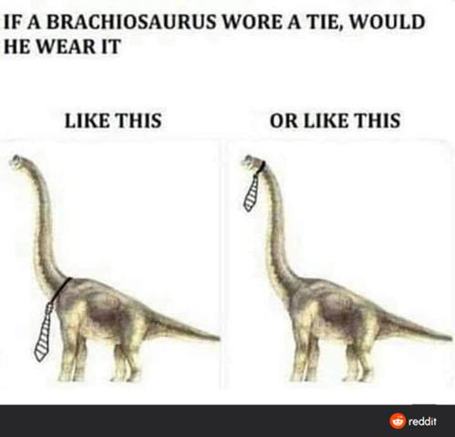 Wenn ein Brachiosaurus eine Krawatte tragen würde, wie würde es diese dann tragen?