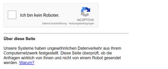 Wenn ich eine Webseite eingebe muss ich eingeben, ob ich ein Roboter bin?