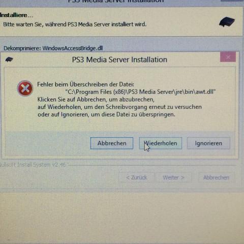 Fehler anzeige - (Fehler, Windows 8, Ps3 media server)