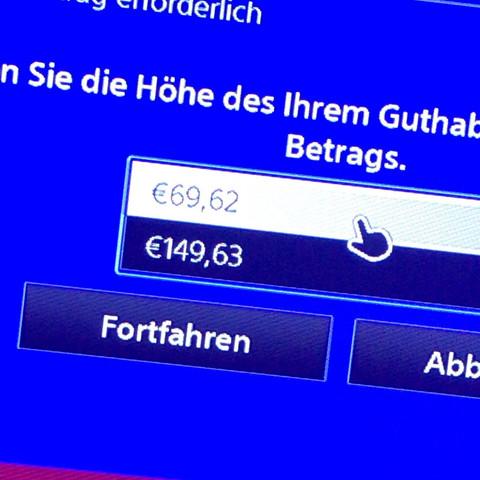 Wenn ich Paysafe aufladen will steht da nur das ich 69,62€ aufladen kann und 149,63€ wieso?