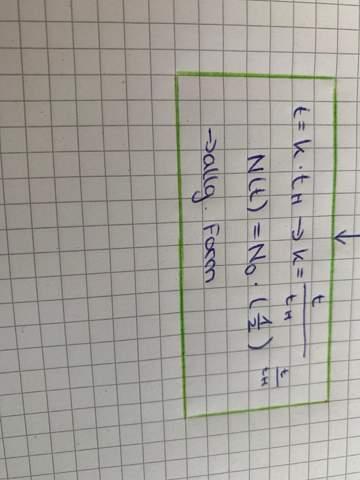 Wenn k die halbwertszahl ist also ob es 1 ,2 oder 3 ist was ist dann tH?