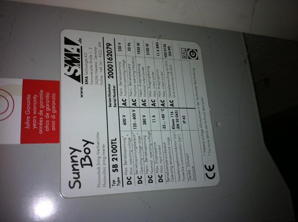 Wechselrichter Seitenansicht / Typenschild - (Elektronik, Photovoltaik, wechselrichter)