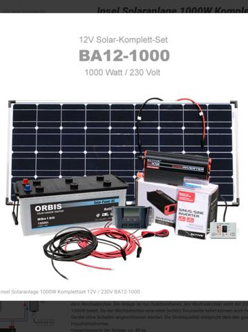 Wer hat Erfahrungen mit einer Insel Solaranlage (Insel Solaranlage 1000W Komplettset Plug & Play 12V / 230V BA12-1000 der Fa. BaSBa)für's Wohnmobil?