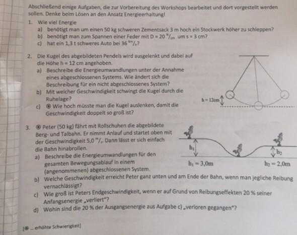 "Arbeitsblatt ""Arbeit und Energie"" - (Physik, Abitur, Mechanik)"