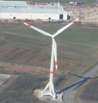 Windkraftanlage mit sichtbarem Fuß - (Energie, Geographie, Rätsel)