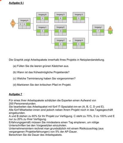 Wer kennt sich mit Projektmanagement aus und kann mir bei diesen Übungsaufgaben helfen (siehe Foto)?