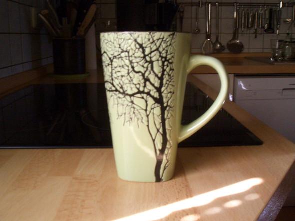 Kaffeetasse lindgrün,Baumdekor - (Tasse, Geschirr, Keramik)
