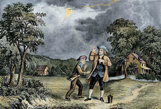 Wer steht neben Benjamin Franklin? (Physik, Bilder, Blitz)