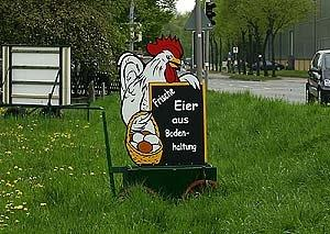 Werbetafel  - (Hühner, Bauernhof, Werbetafel)