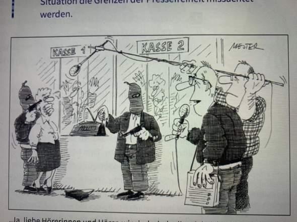 Werden in dieser Karikatur die Grenzen der Pressefreiheit missachtet?