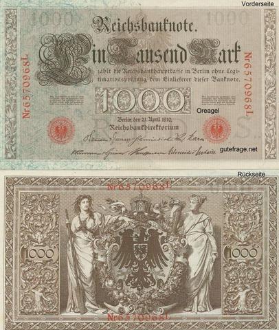 Reichsbanknote 1000 Reichsmark - (Geld, Bank, Banknoten)