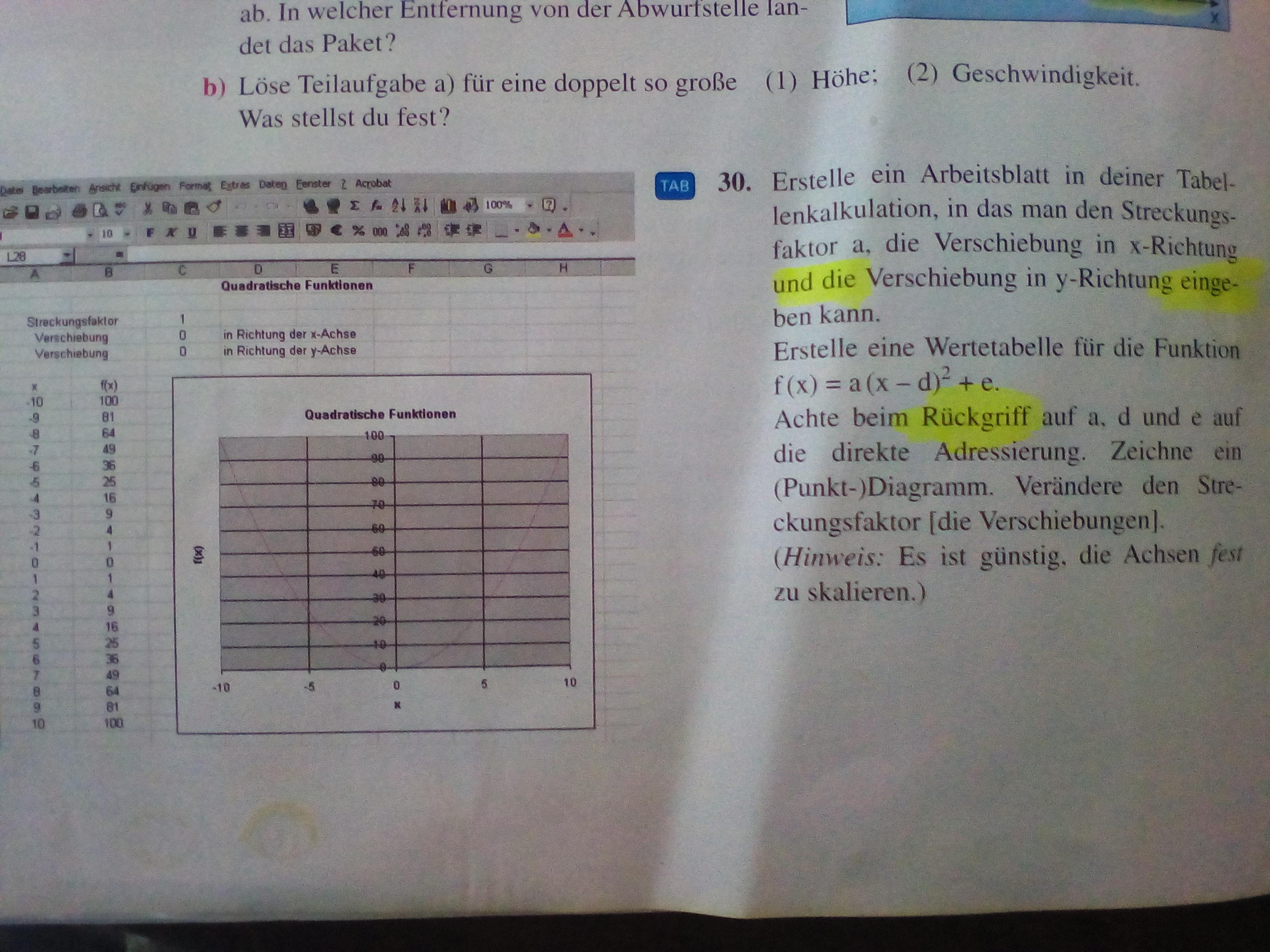Wertetabelle mit Tabellenkalkulation? (Mathe)