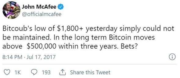 Wie viel Bitcoin besitzt McAfee?
