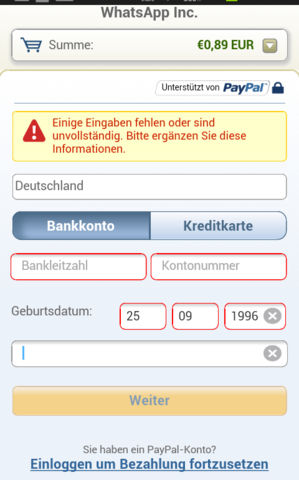 dort - (WhatsApp, Zahlung)