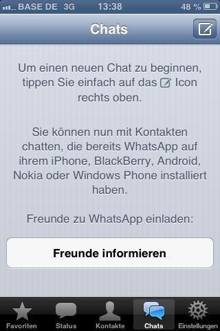 whatsapp: fenster blockiert chatliste (chat, anzeige), Einladung