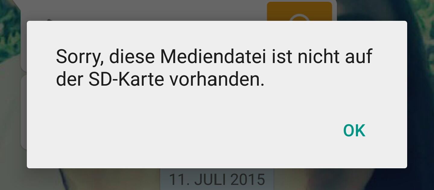 sorry diese mediendatei ist nicht auf der sd-karte vorhanden Whatsapp audiodateien/mediendateien werden nicht abgespielt