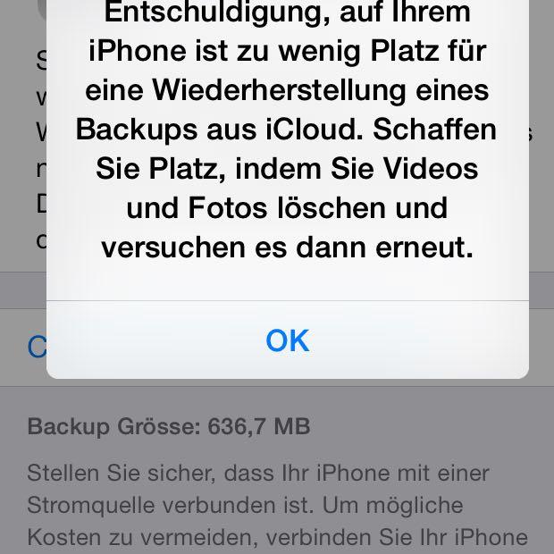 Whatsappbackup funktioniert nicht obwohl genug speicher