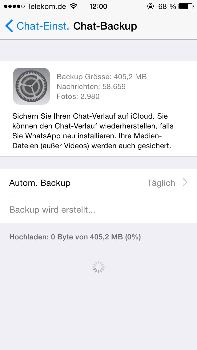 Whatsapp Backup lädt nicht hoch (Apple, iPhone, iCloud)