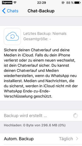 Whatsapp Chat Backup Bleibt Hängen