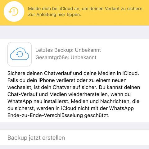 whatsapp backup geht nicht