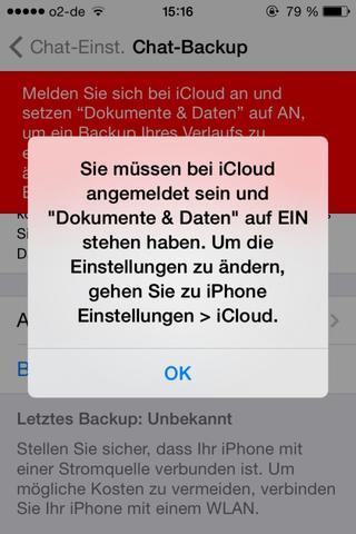 Hinweis  - (iPhone, WhatsApp, Backup)