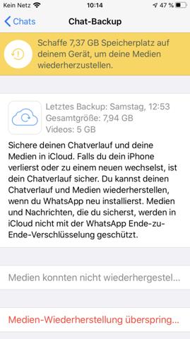 Whatsapp Chatverlauf konnte nicht wiederhergestellt werden (Grund: zu wenig Speicher, obwohl genug?!)?