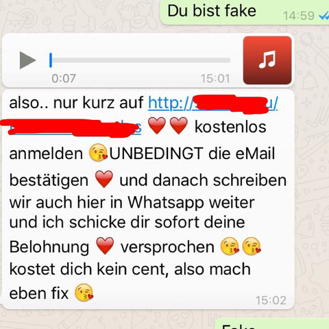 """Als ich öfters ,,Fake"""" geschrieben habe, kam diese Nachricht - (WhatsApp, Anzeige, Nachrichten)"""