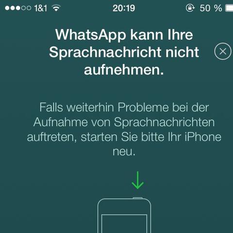 Screenshot von der Meldung  - (WhatsApp, Sprachmemo)