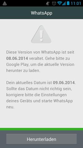 Fehlermeldung Whatsapp - (WhatsApp, Fehler, Speicher)