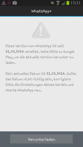 whatsapp veraltet