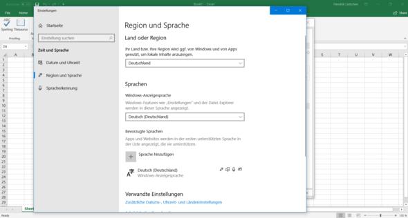 Wie ändere ich in Office 365 (Word/Excel) die Anzeigesprache?