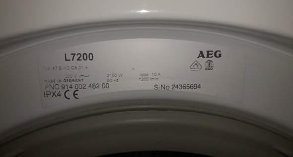 Wie alt ist meine AEG Waschmaschine L7200?