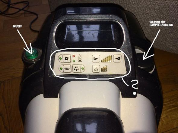 Wie bedient man den Dampfreiniger CONDOR 8000 richtig (siehe Foto. Habe ihn gebraucht gekauft u. bekomme keinen Dampf raus, rote Lampe blinkt und er piept nur)?
