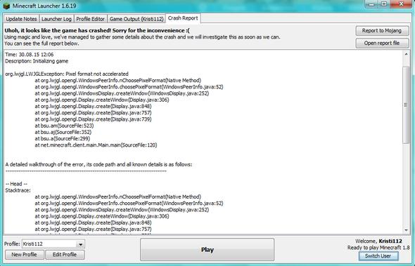Fehlermeldung - (Minecraft, Fehlermeldung)