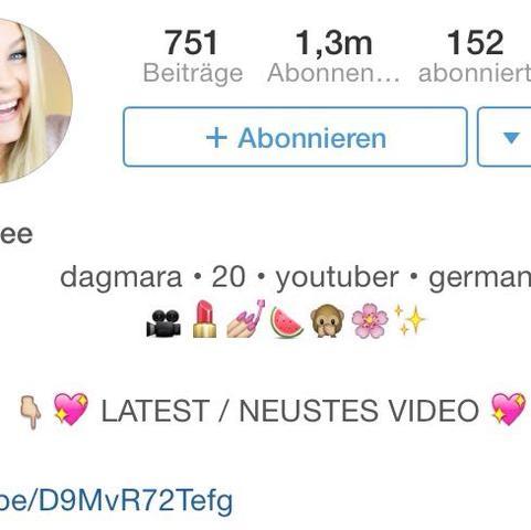 Bei der Beschreibung in Instagram einen Absatz machen. Wie hier bei DagiBee. - (Instagram, Beschreibung, Absatz)