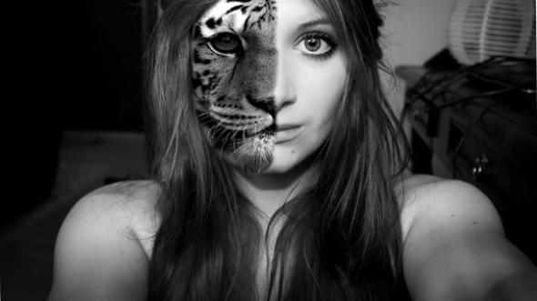 Tiger halb Menschn - (Computer, tiger, tigergesicht)