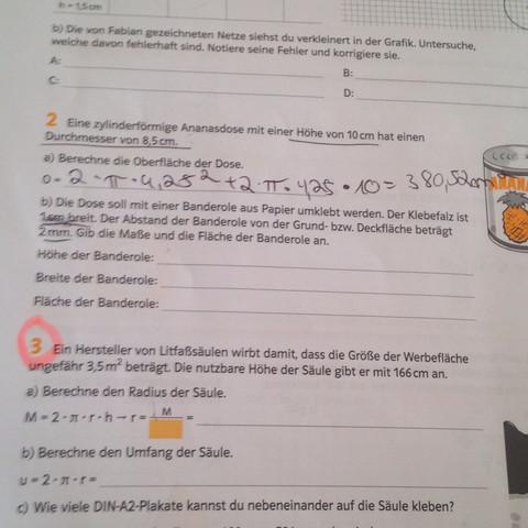Aufgabe 2 - (Mathematik, Zylinder)