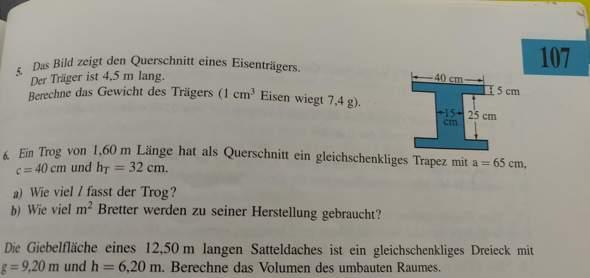 - (Volumen berechnung, Mathe Eisenträger Volumen)