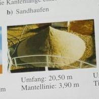 Umfang:20,50m Mantellinie: 3,90m - (Mathe, Mathematik, Volumen)
