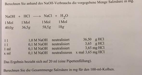 Wie berechne ich diese Aufgabe (Neutralisationstitration)?