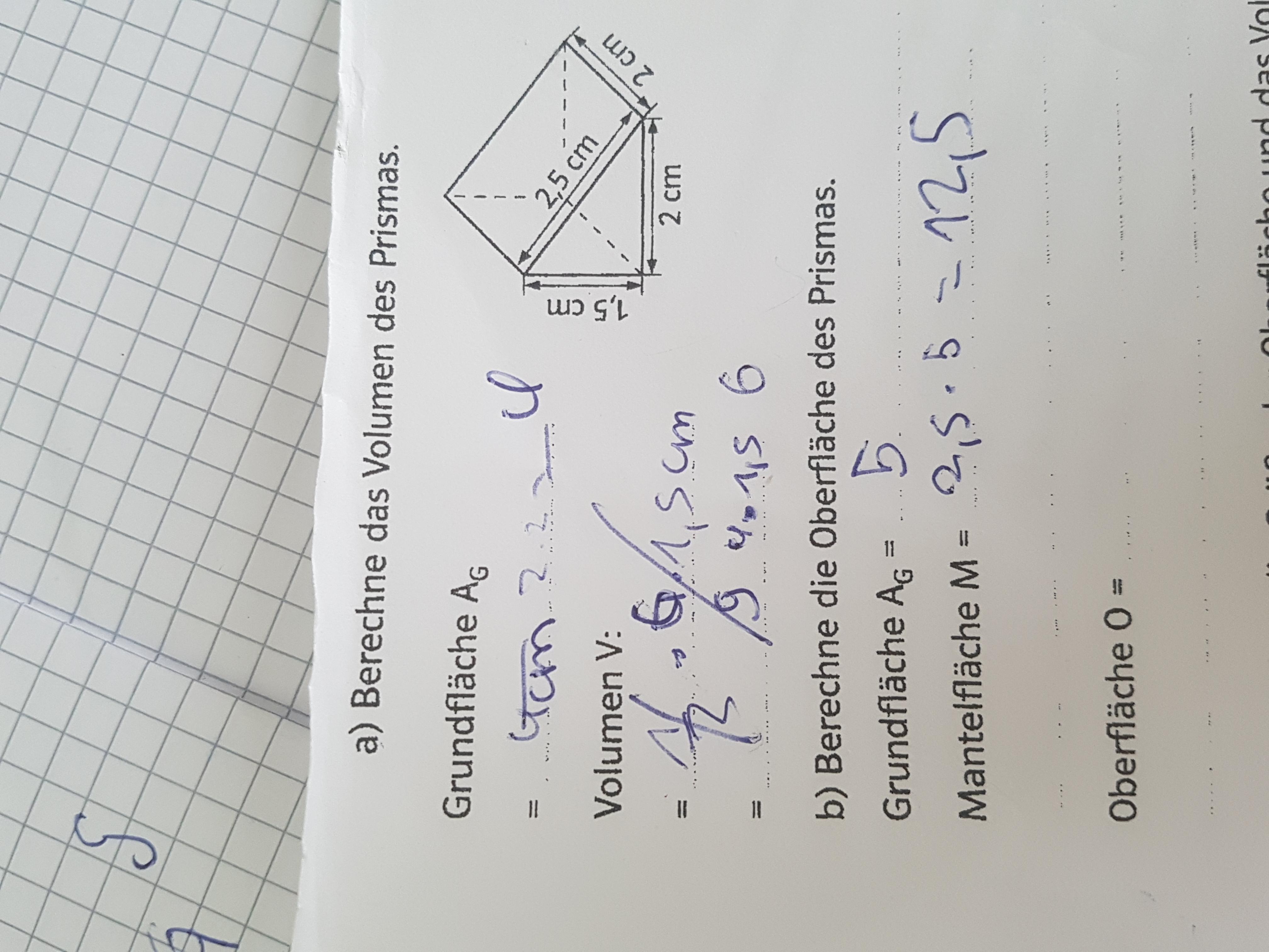 Wie berechne ich dieses Prisma? (Mathe, berechnen)